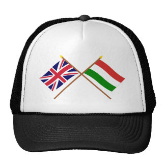 UK and Hungary Crossed Flags Trucker Hat