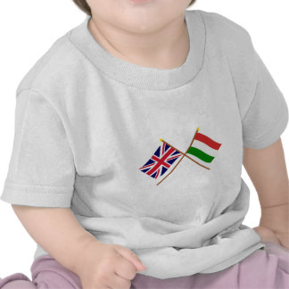 UK and Hungary Crossed Flags T Shirts