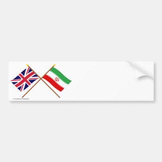 UK and Iran Crossed Flags Car Bumper Sticker