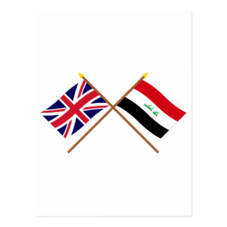 UK and Iraq Crossed Flags Postcard
