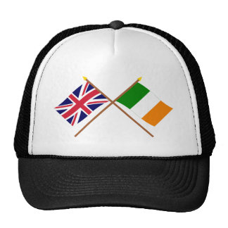 UK and Ireland Crossed Flags Trucker Hats
