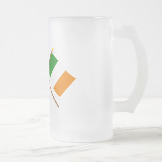 UK and Ireland Crossed Flags 16 Oz Frosted Glass Beer Mug