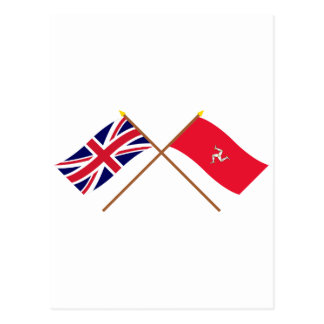 UK and Isle of Man Crossed Flags Postcard