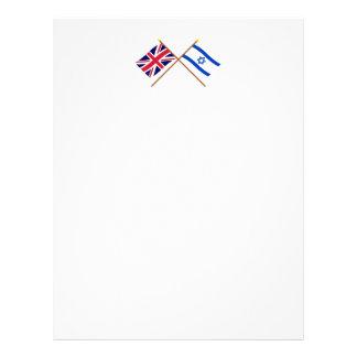 UK and Israel Crossed Flags Letterhead Template