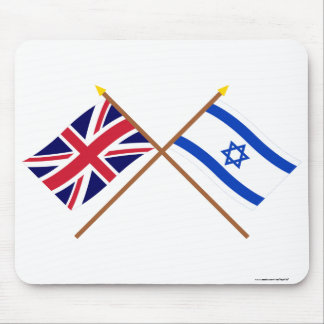 UK and Israel Crossed Flags Mouse Pad