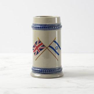 UK and Israel Crossed Flags Coffee Mugs