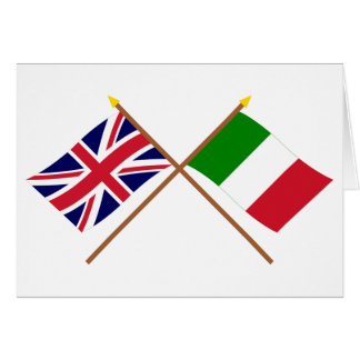 UK and Italy Crossed Flags Card