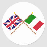 UK and Italy Crossed Flags Classic Round Sticker