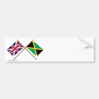UK and Jamaica Crossed Flags Bumper Sticker
