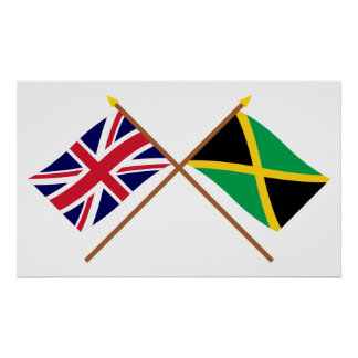 UK and Jamaica Crossed Flags Poster