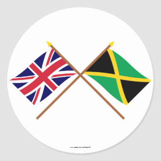 UK and Jamaica Crossed Flags Classic Round Sticker