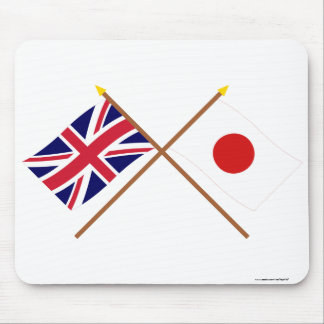 UK and Japan Crossed Flags Mouse Pad