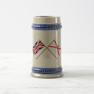UK and Jersey Crossed Flags 18 Oz Beer Stein
