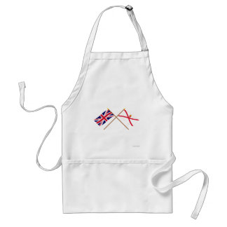 UK and Jersey Crossed Flags Adult Apron