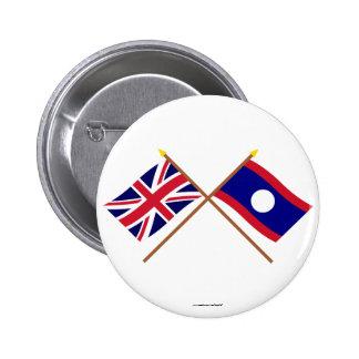 UK and Laos Crossed Flags Pin