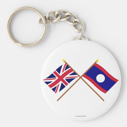 UK and Laos Crossed Flags Key Chain