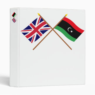 UK and Libya Crossed Flags 3 Ring Binder