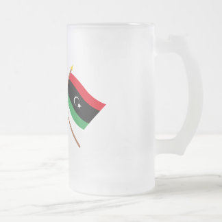 UK and Libya Crossed Flags Frosted Glass Beer Mug