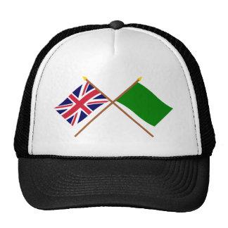 UK and Libya Crossed Flags Trucker Hat