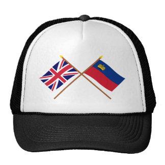 UK and Liechtenstein Crossed Flags Trucker Hat