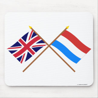 UK and Luxembourg Crossed Flags Mousepad