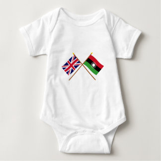 UK and Malawi Crossed Flags Baby Bodysuit