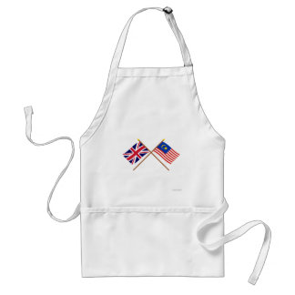 UK and Malaysia Crossed Flags Adult Apron