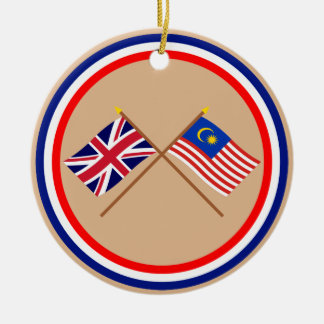 UK and Malaysia Crossed Flags Ceramic Ornament