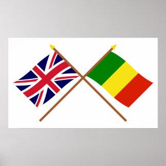 UK and Mali Crossed Flags Print
