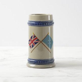 UK and Micronesia Crossed Flags 18 Oz Beer Stein