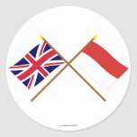 UK and Monaco Crossed Flags Round Stickers