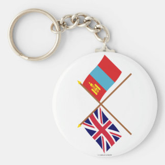 UK and Mongolia Crossed Flags Basic Round Button Keychain