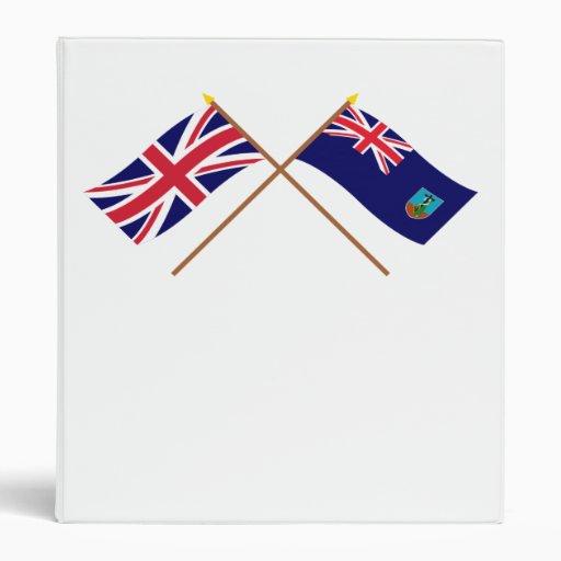 UK and Montserrat Crossed Flags Vinyl Binder