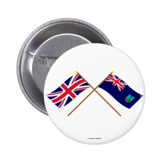 UK and Montserrat Crossed Flags 2 Inch Round Button