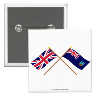 UK and Montserrat Crossed Flags 2 Inch Square Button