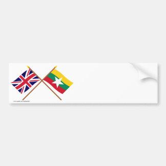 UK and Myanmar Crossed Flags Bumper Sticker