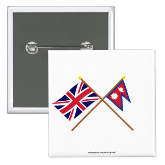 UK and Nepal Crossed Flags Pins