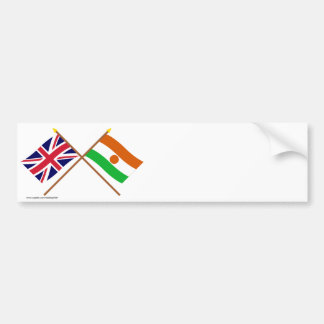 UK and Niger Crossed Flags Car Bumper Sticker