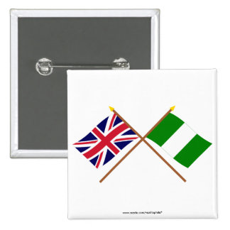 UK and Nigeria Crossed Flags Pin
