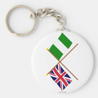 UK and Nigeria Crossed Flags Keychain