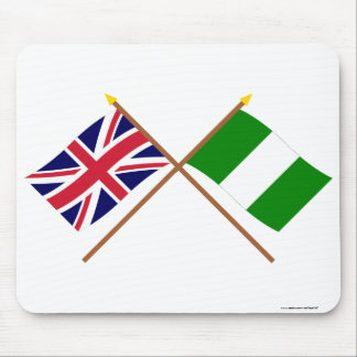 UK and Nigeria Crossed Flags Mouse Pads
