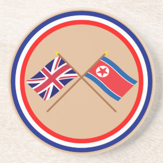 UK and North Korea Crossed Flags Drink Coaster