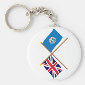 UK and Northern Marianas Crossed Flags Basic Round Button Keychain