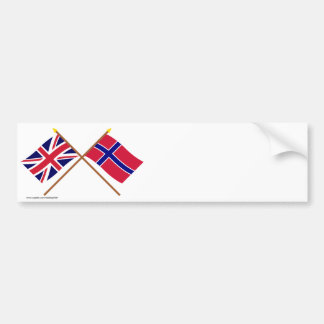 UK and Norway Crossed Flags Bumper Sticker