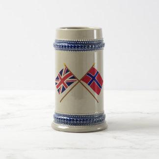 UK and Norway Crossed Flags 18 Oz Beer Stein