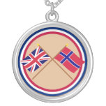 UK and Norway Crossed Flags Round Pendant Necklace
