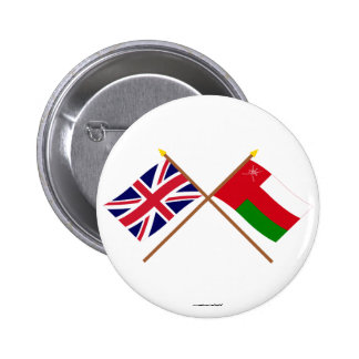 UK and Oman Crossed Flags Pinback Button