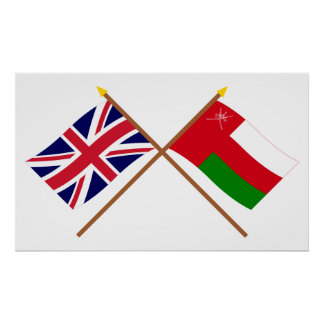 UK and Oman Crossed Flags Poster