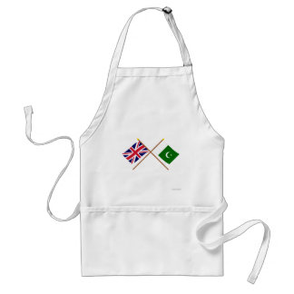 UK and Pakistan Crossed Flags Adult Apron