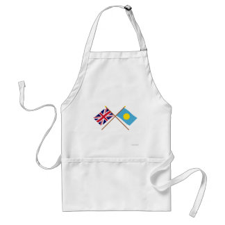 UK and Palau Crossed Flags Adult Apron
